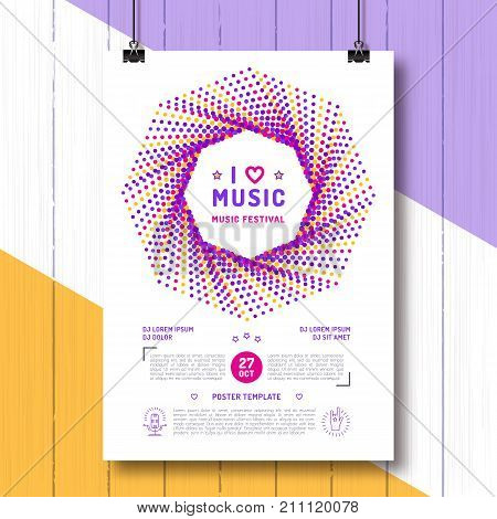 Music festival Party poster template A4 size. Arts flyer, Event invitation, Classic, electronic or rock, jazz concert. Vector modern minimalist style, hipster design