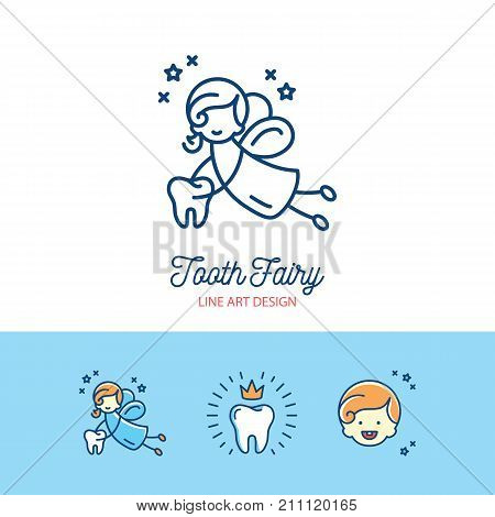 Tooth Fairy logo Children's dentistry thin line art icons. Symbols baby teeth, tooth fairy, smile, child, missing teeth. Vector flat illustration