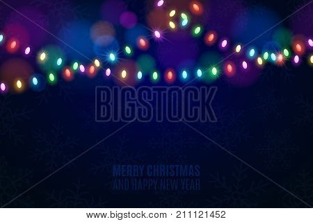 Christmas multicolored lights on a dark background. Snowflakes on the background. Celebratory background. Multicolored glare. Glowing garlands. Luminous oval light bulbs. Vector illustration