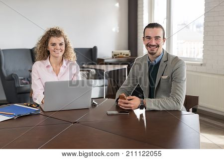 Business People Couple In Coworking Center Businessman And Woman Team Coworkers Working Meeting Brainstorming Modern Office