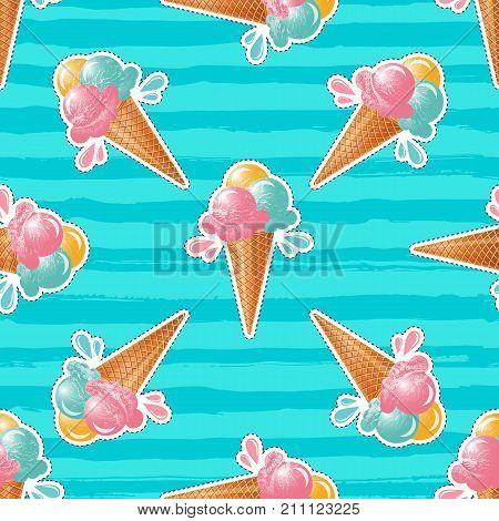Ice cream pattern Turquoise background. 80s pop art design, ice cream sticker or badge. Vector seamless pattern