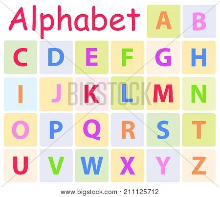 Multycolored alphabet with 26 capital letters icons. Vector illustration of preschool education for children. Colorful teaching typography for kindergarten or school. Cartoon drawing of English ABC.