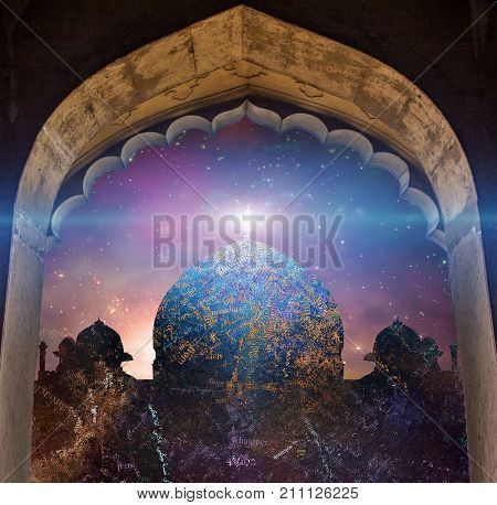 Temple in eastern style. Universe with galaxies on a background.      Some elements courtesy of NASA Temple composed of text, words
