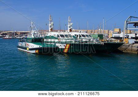 Corralejo, Fuerteventura, Canary Islands, Spain - October 24, 2017: Spanish Guardia Civil nautical patrol vessels in the harbor of Corralejo.