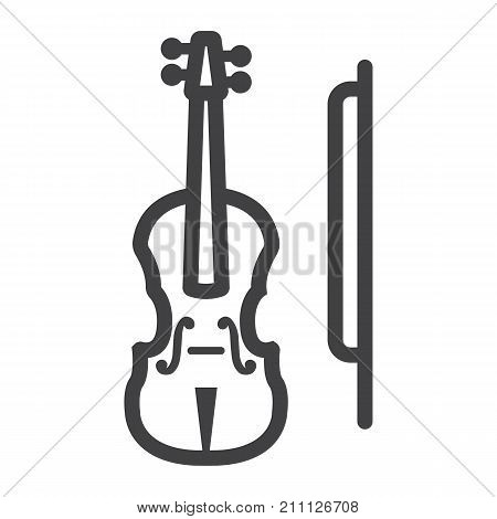Violin line icon, music and instrument, sound sign vector graphics, a linear pattern on a white background, eps 10.