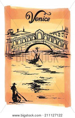 Ink drawing of The Bridge of Rialto, Venezia, Italy - vector sketch illustration Venice
