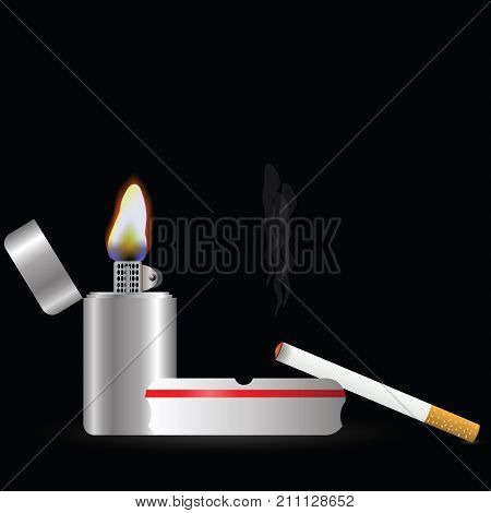 colorful illustration with lighter and sigarette on a dark background
