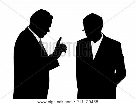 Boss giving order instruction or warning his employee worried with head bowed down