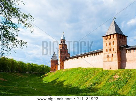 Veliky Novgorod Russia. Intercession Kokui and Prince towers of Veliky Novgorod Kremlin Russia in spring day. Architecture landscape of Veliky Novgorod Russia landmarks