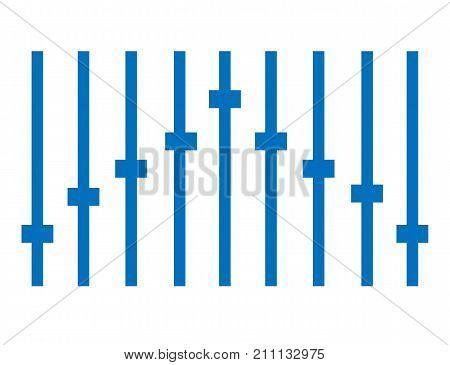 blue equalizer icon on white background. equalizer symbol. blue equalize sign. flat style.