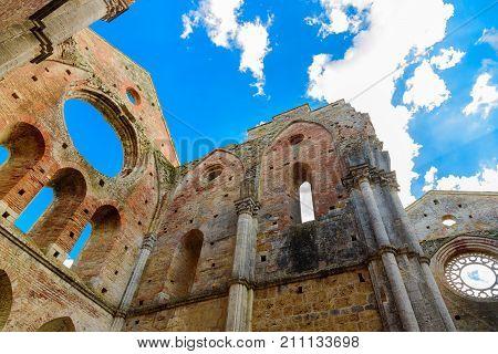 The Interior Of The Famous Abbey Of San Galgano In Chiusdino, Tuscany, Italy