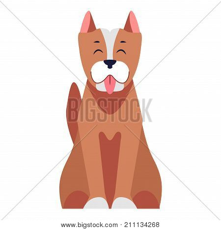 Cartoon dog sitting with hanging out tongue flat vector isolated on white background. Lovely purebred pet illustration for animal friends and companions concepts, shop ad