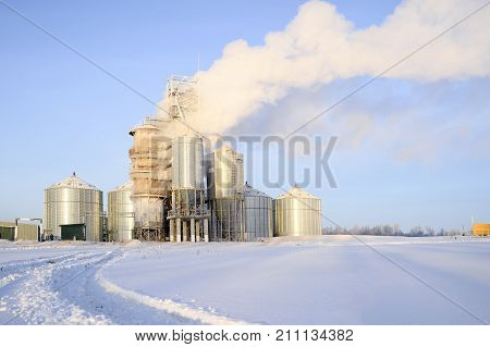 Thick steam from the pipes of a grain drying plant.