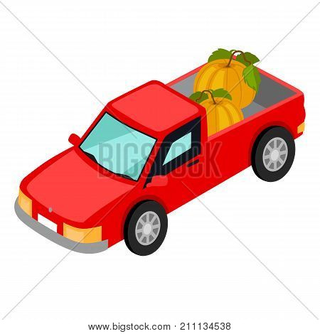 Red van pick-up truck with pumpkins isolated on white background. Means of transport widely used for transportation farming products