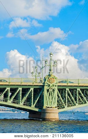 St Petersburg Russia. Closeup of Trinity Bridge - bascule bridge across the Neva in St Petersburg Russia. It was the third permanent bridge in St Petersburg across the Neva built between 1897 and 1903