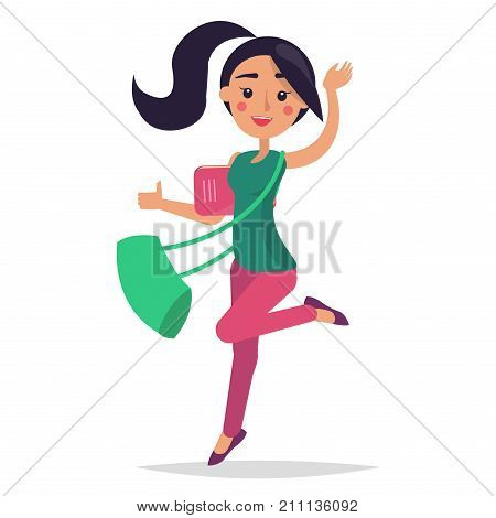 Young bouncing girl student holding ruddy book with green bag on white background. College brunette girl dressed in blouse and trousers. Vector illustration flat design of cartoon woman character
