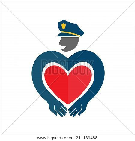 Policeman. The COP with the heart. Cute original vector illustration. Template icon for Valentine's day.