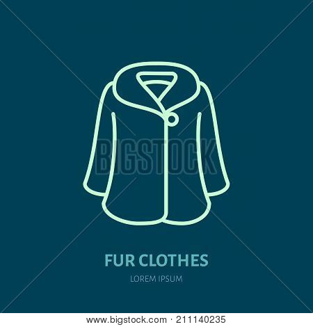 Coat icon, fur clothing shop line logo. Flat sign for apparel collection. Logotype for laundry, clothes dry cleaning.