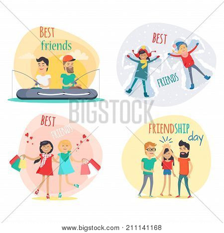 Set of best friends and friendship day flat design isolated on white. Vector illustration of joint fishing two boys, girls shopping, friends makes snow angel and friendly greeting cartoon style