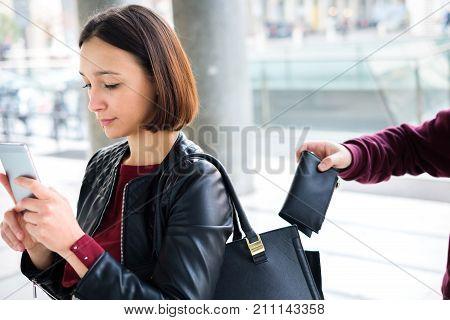 Burglar Stealing Money Wallet  From The Handbag Of A Distracted
