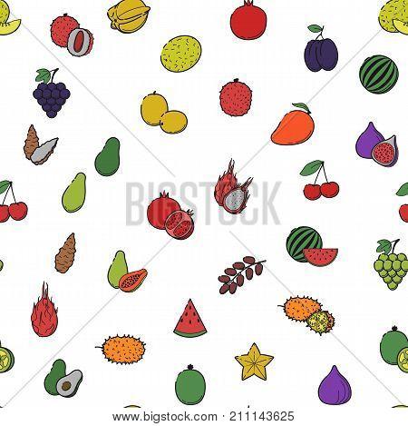 Seamless pattern texture fabric cute print: Outline flat color icon set - Fruit & berries Line food Icons cherry mango fig watermelon papaya avocado jerusalem artichoke date grape on white backgorund
