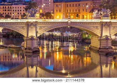 Amazing Sunset view of Tiber River in city of Rome, Italy