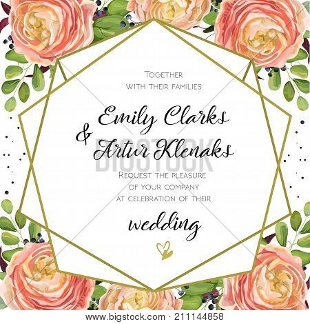 Wedding Invitation floral invite card Design with pink peach rose Ranunculus elegant blue berry romantic fern greenery bouquet geometric golden border print. Vector watercolor cute garden greeting