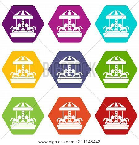 Carousel with horses icon set many color hexahedron isolated on white vector illustration