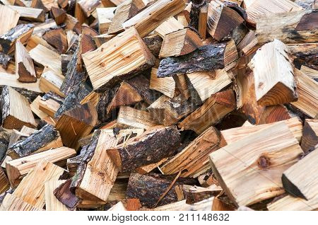 Pile Of Chopped Fire Wood For Backgrounds