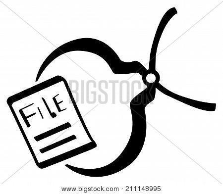 File pincer stencil black vector illustration horizontal isolated