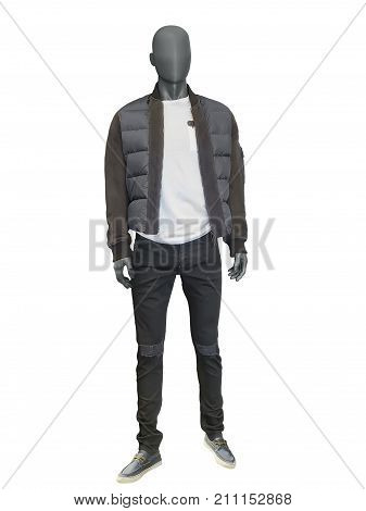 Full length male mannequin dressed in jacket and trousers isolated on white background.