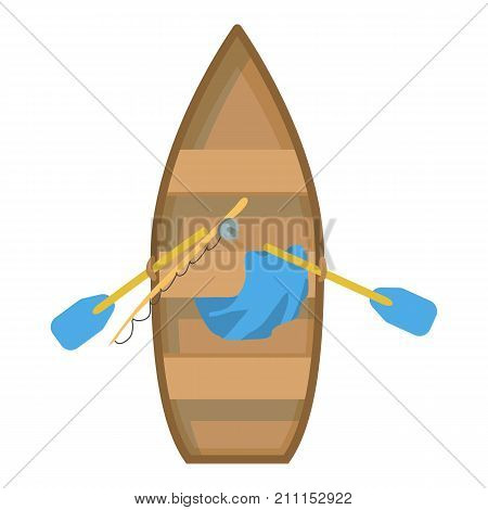 Floating boat icon. Cartoon illustration of floating boat vector icon for web