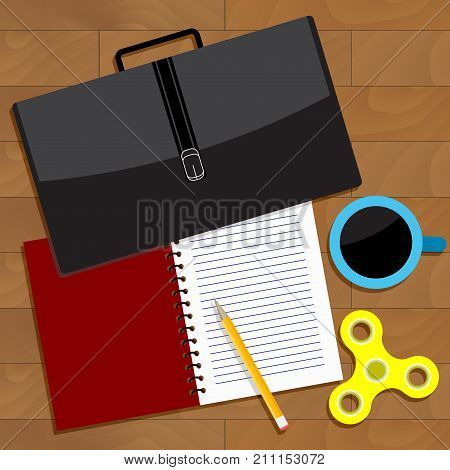 Work business top view. Vector work flow view office table business with briefcase spinner and notebook illustration