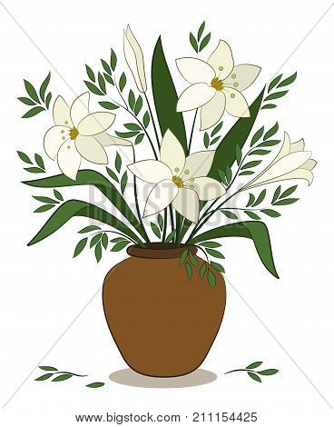 Bouquet of Beige Lilies Flowers and Green Leaves in a Brown Clay Vase Isolated on White Background. Vector