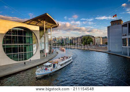 Berlin, Germany - September 24, 2015 - Spree River In The Inner City Of Berlin, Capital Of Germany,