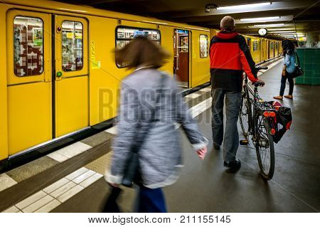 Berlin, Germany - September 23, 2015 - U2 Underground Train At Eberswalder Station In Prenzlauer In