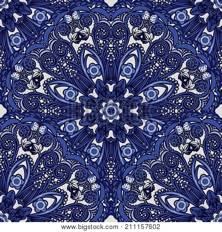 Dark blue seamless background of circular ornaments. Floral and berry pattern in the style of Chinese painting on porcelain. Vector illustration.