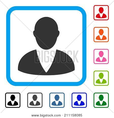 Client icon. Flat grey pictogram symbol inside a blue rounded frame. Black, gray, green, blue, red, orange color versions of Client vector. Designed for web and application UI.