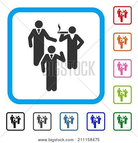 Discussion Group icon. Flat grey pictogram symbol in a blue rounded frame. Black, gray, green, blue, red, orange color additional versions of Discussion Group vector.