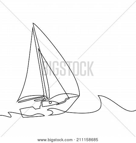 Continuous Line Drawing Of Sailboat