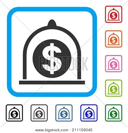 Dollar Standard icon. Flat grey pictogram symbol in a blue rounded square. Black, gray, green, blue, red, orange color variants of Dollar Standard vector. Designed for web and application interfaces.