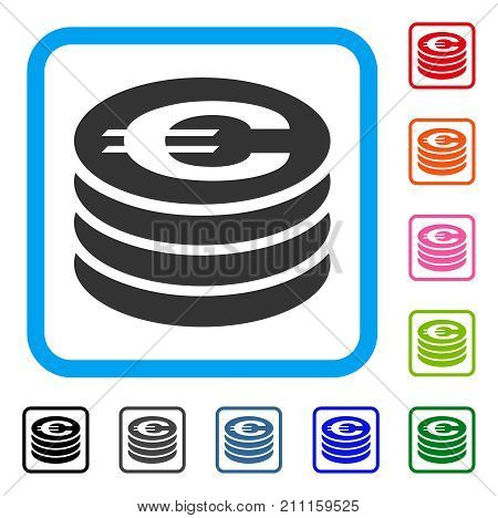 Euro Coin Column icon. Flat grey iconic symbol inside a blue rounded rectangular frame. Black, gray, green, blue, red, orange color variants of Euro Coin Column vector.