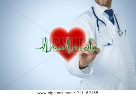 Healthcare and heart problems prevention (cardiology) concept. Cardiologist or general practitioner doctor and symbol of the heart and ECG heartbeat.
