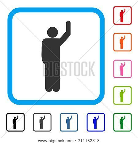 Hitchhike Pose icon. Flat gray iconic symbol in a blue rounded rectangle. Black, gray, green, blue, red, orange color additional versions of Hitchhike Pose vector. Designed for web and software UI.