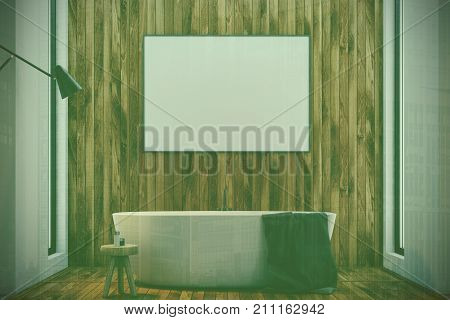Dark Wooden Bathroom, Tub And Poster Toned
