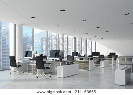 White Ceiling Open Space Office, Side