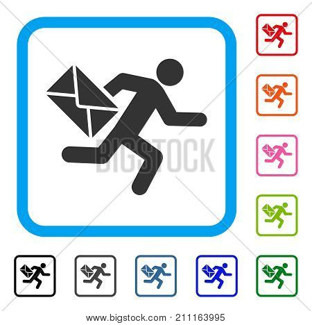 Mail Courier icon. Flat grey iconic symbol in a blue rounded rectangular frame. Black, gray, green, blue, red, orange color additional versions of Mail Courier vector.