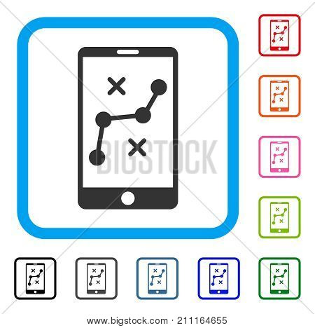 Mobile Navigation Route icon. Flat gray iconic symbol inside a blue rounded square. Black, gray, green, blue, red, orange color versions of Mobile Navigation Route vector.