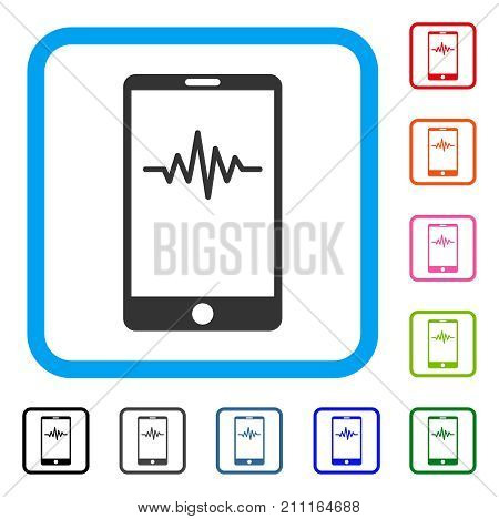 Mobile Signal Graph icon. Flat grey iconic symbol in a blue rounded frame. Black, gray, green, blue, red, orange color versions of Mobile Signal Graph vector. Designed for web and app UI.