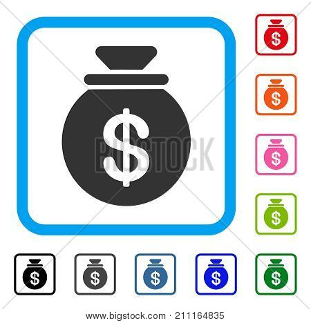Money Bag icon. Flat gray iconic symbol inside a blue rounded squared frame. Black, gray, green, blue, red, orange color versions of Money Bag vector. Designed for web and application user interface.